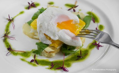 Egg starter serve at the table at this Cheshire wedding venue