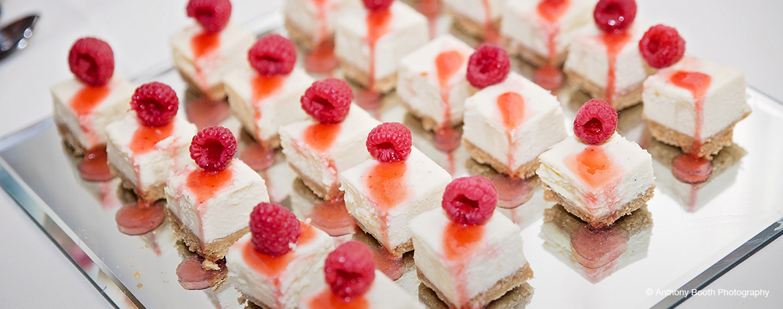 A platter of stunning wedding desserts created by our wedding caterers Top Table Catering
