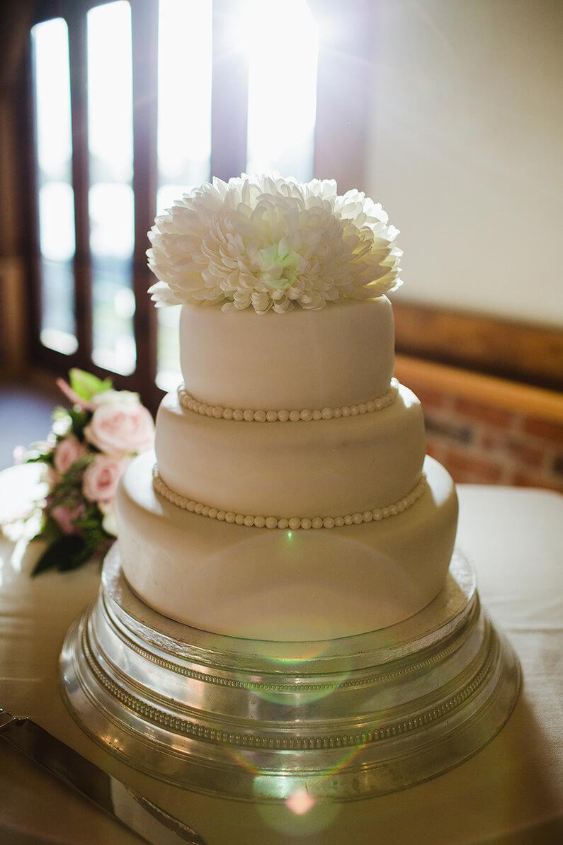 Blush pink 3 tiered wedding cake