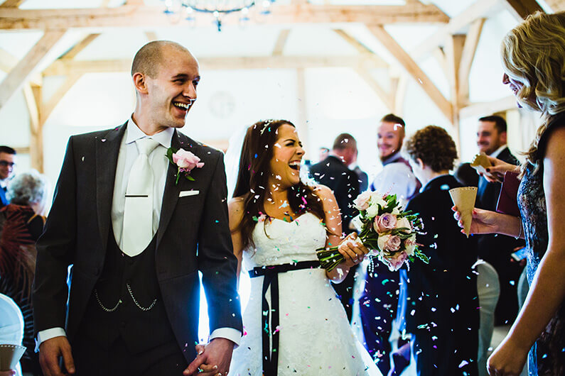 Just married confetti at Sandhole Oak Barn