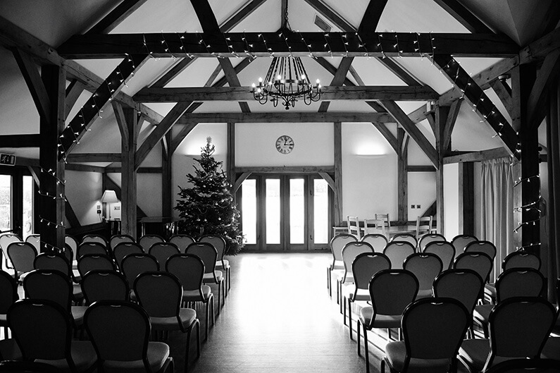 Set up for a Christmas wedding ceremony at Sandhole Oak Barn