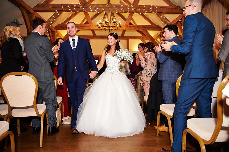 Bride and groom just married at Sandhole Oak Barn