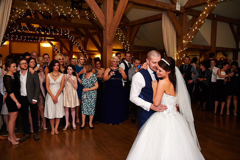Wedding reception first dance at Sandhole Oak Barn