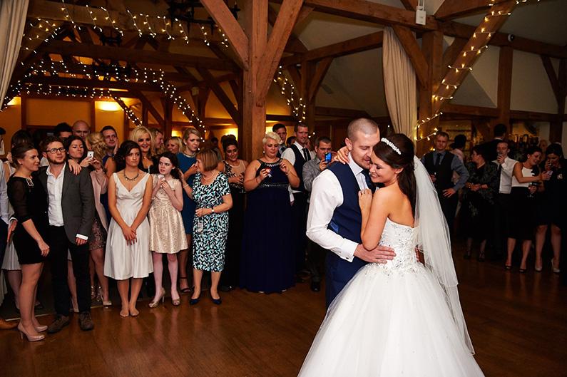 Wedding reception first dance at Sandhole Oak Barn
