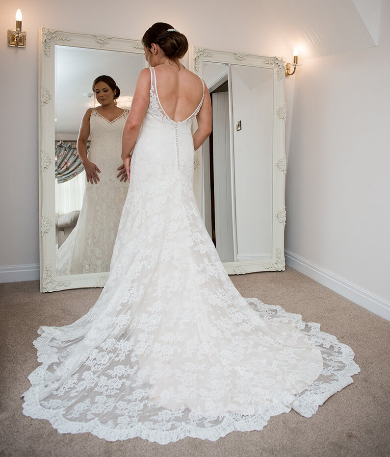 Chloe's pretty white lace wedding dress