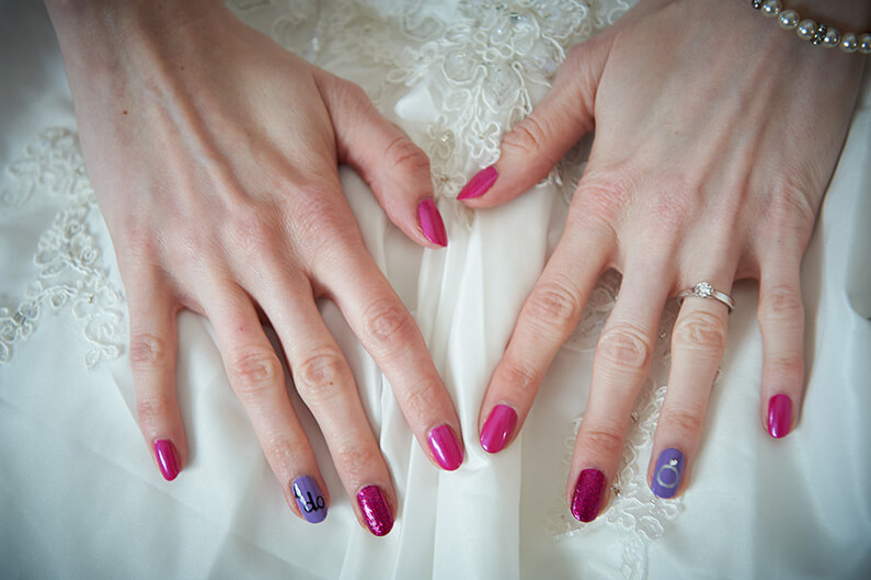 Pink and purple wedding nails
