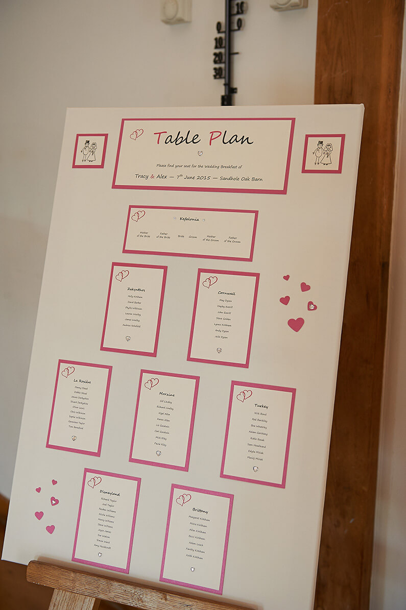 Pink and white wedding table seating plan