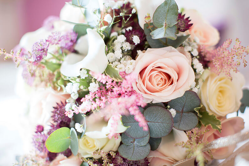 Micaela's pink, white and maroon floral bouquet