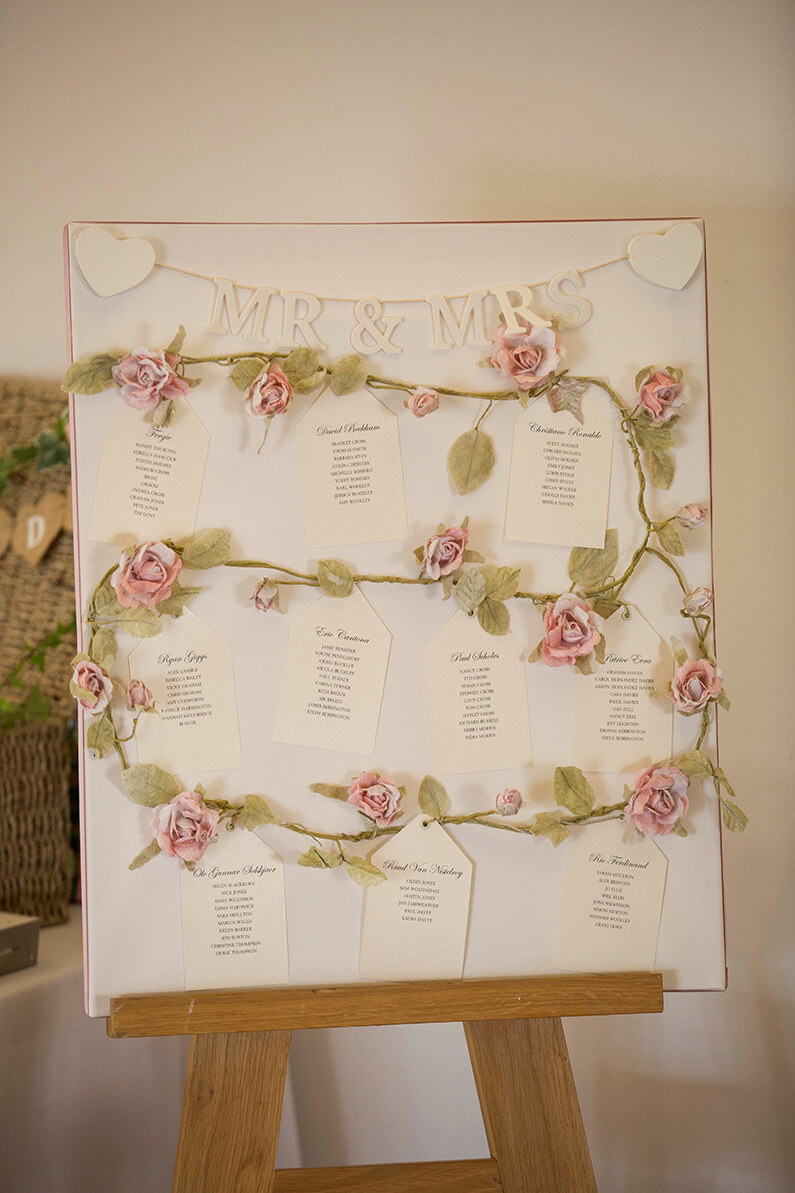 White and pink floral decorated table plan