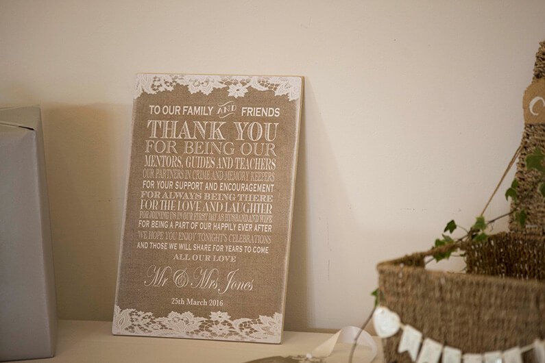 Brown and cream thank you sign
