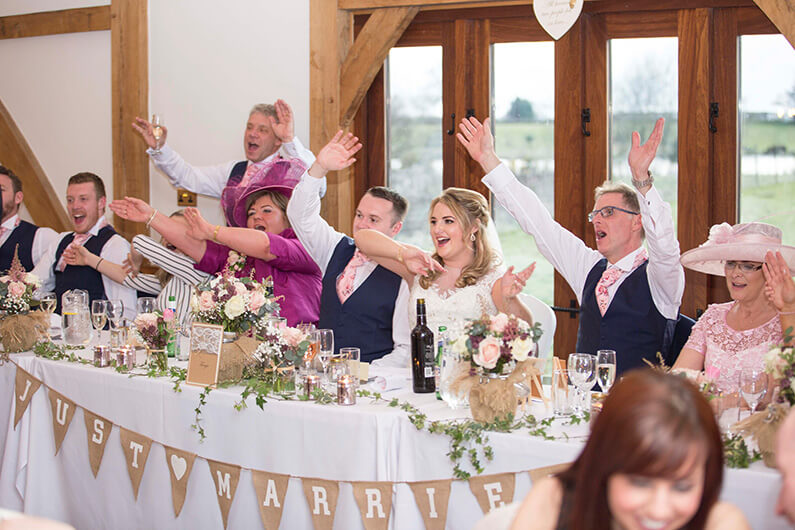 Wedding reception celebrations at the top table