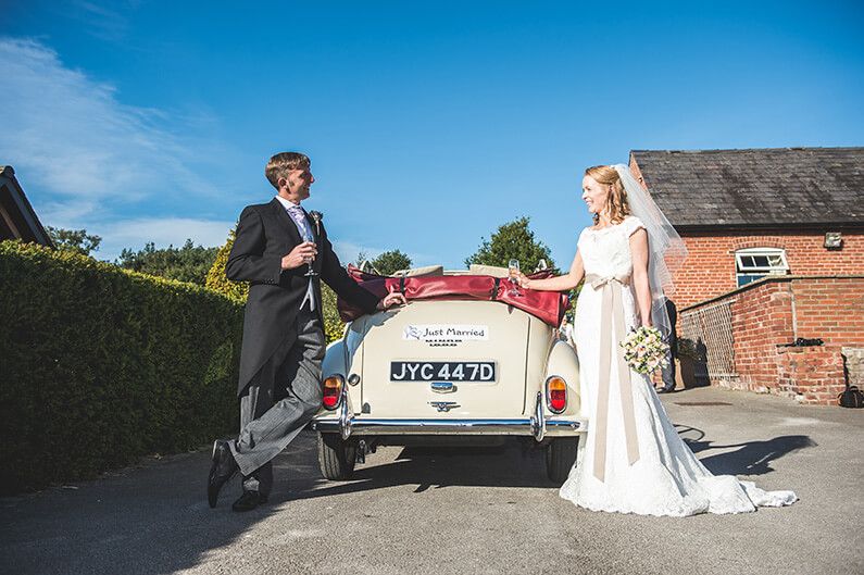 Rachel and Norman vintage wedding car