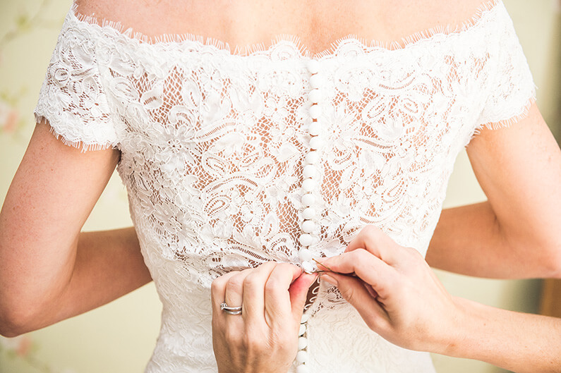 The lace detail on Rachel's pretty dress