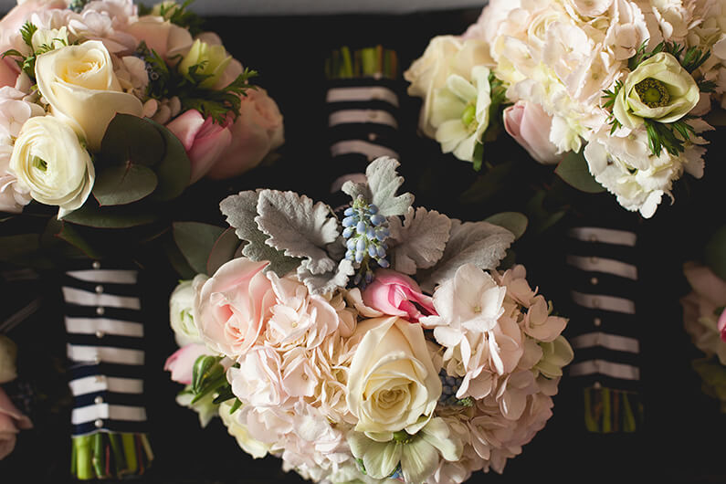 Pastel hand-tied flower bouquets