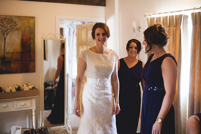 Lauren getting ready with her bridesmaids