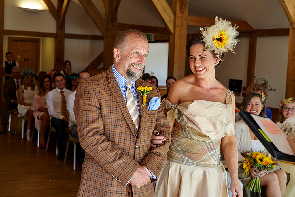 Wedding ceremony at Sandhole oak barn yellow sunflowers