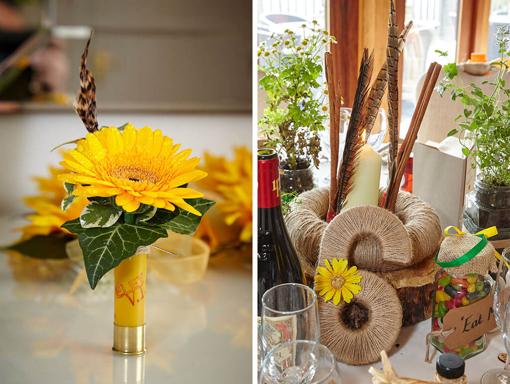 Sunflower table centrepiece and table number