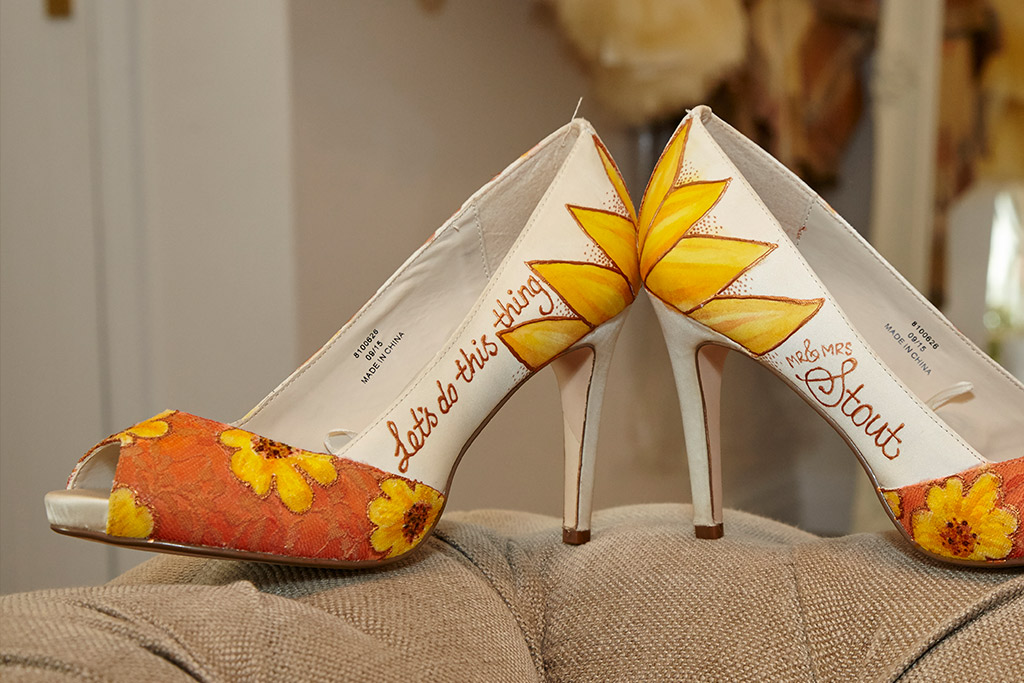 Brides sunflower detail shoes