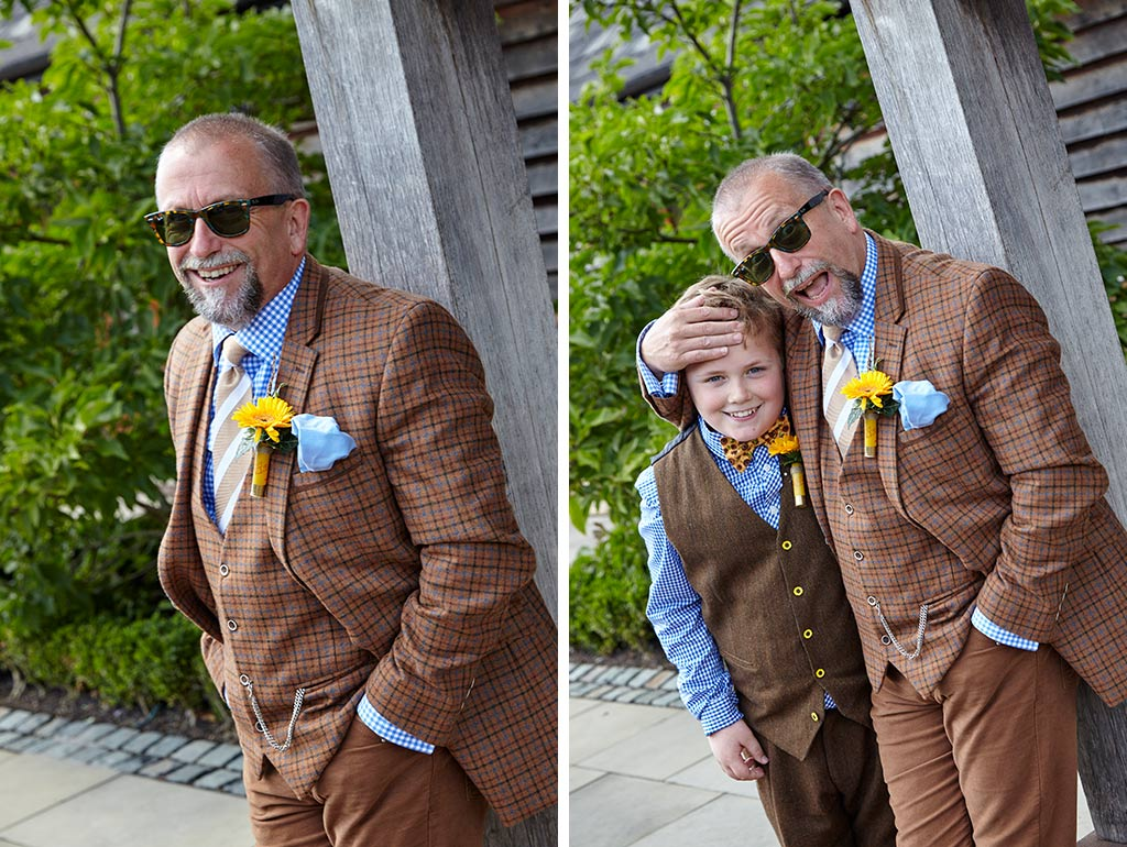 Grooms brown tweed suit with yellow buttonhole