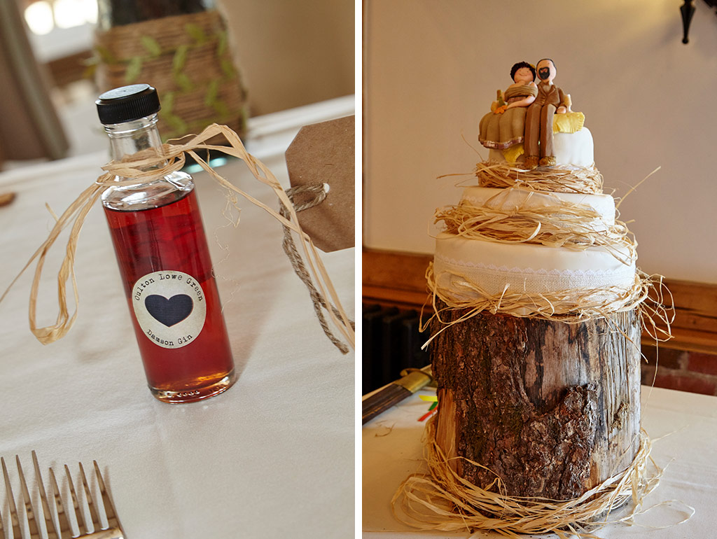 Wedding cake with hay detail and bottle wedding favour