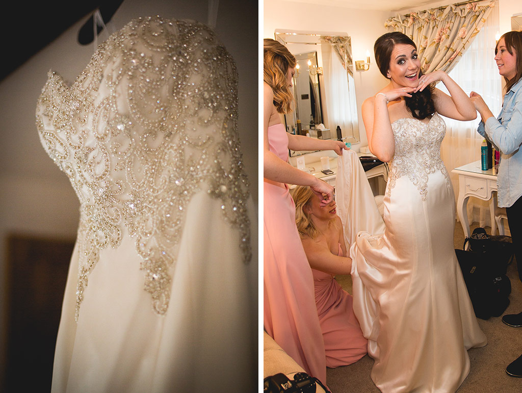 Bride and bridesmaids wedding dresses