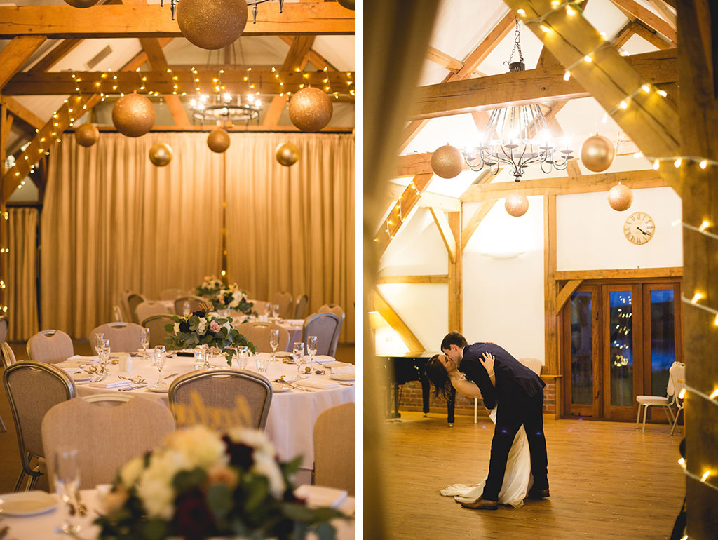 Bride and groom dancing under open wooden beams