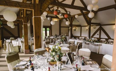 Oak Barn dressed rustic wedding theme