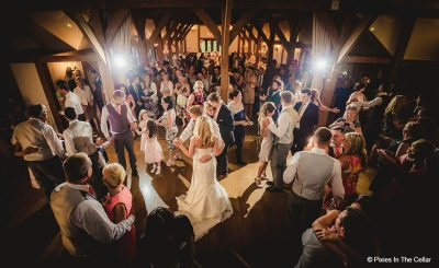 Bride and groom enjoy wedding dance