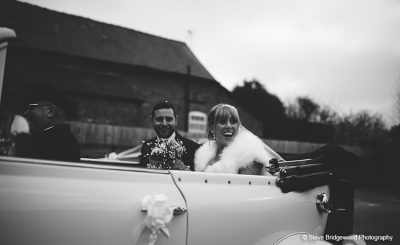 Couple arrive in style at one of the finest wedding venues in Cheshire