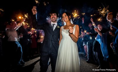 Take your wedding reception outside in the evening with sparklers