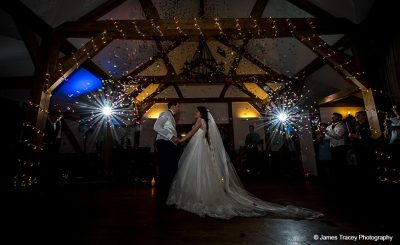 Bride and groom enjoy their first wedding dance during wedding reception
