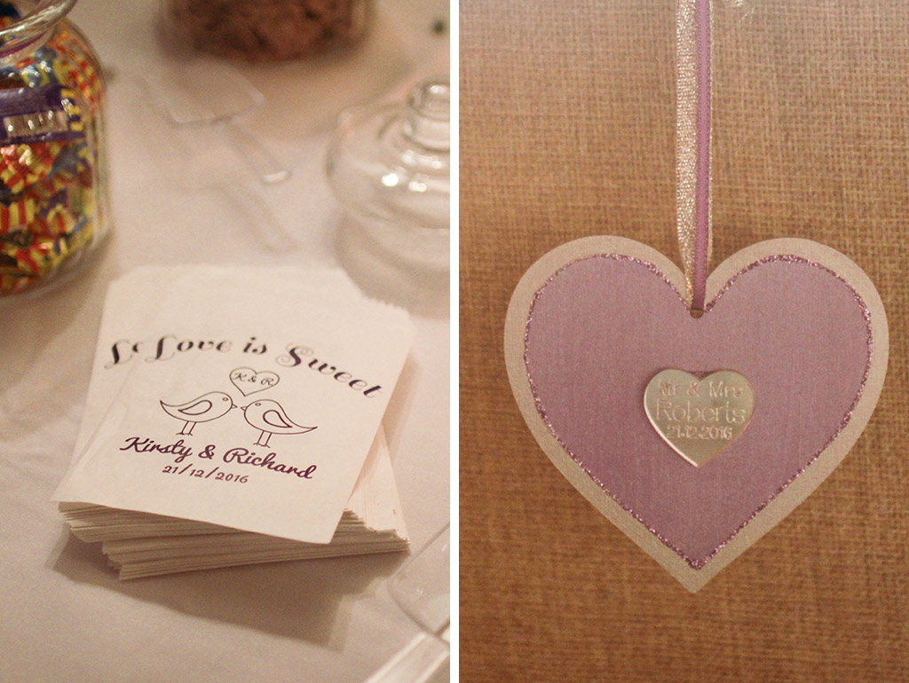 Purple heart decorations at Kirsty and Richard's wedding at Sandhole Oak Barn