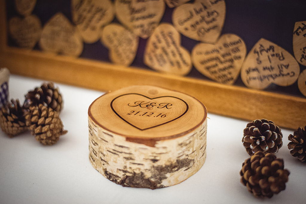 Love heart wooden guest book at Sandhole Oak Barn