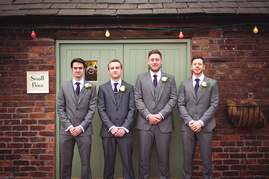 The groomsmen at Kirsty and Richard's wedding at Sandhole Oak Barn
