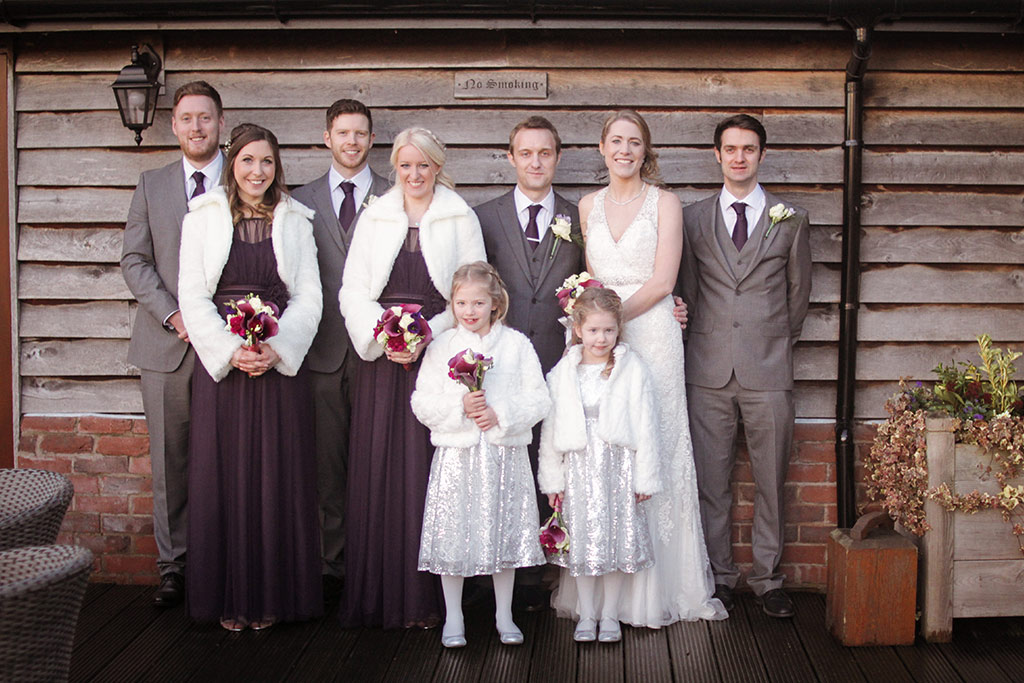 The wedding party at Kirtsy and Richard's wedding at Sandhole Oak Barn