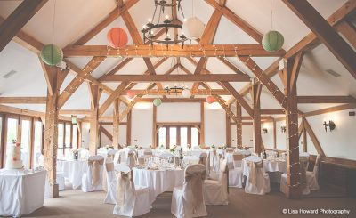 Oak barn decorated with paper lanterns