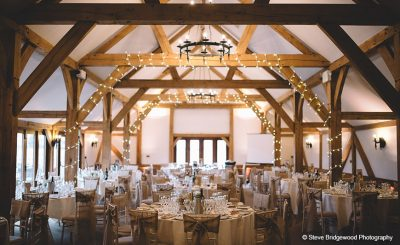 Minimal and stylish winter wedding decorations in the Oak Barn