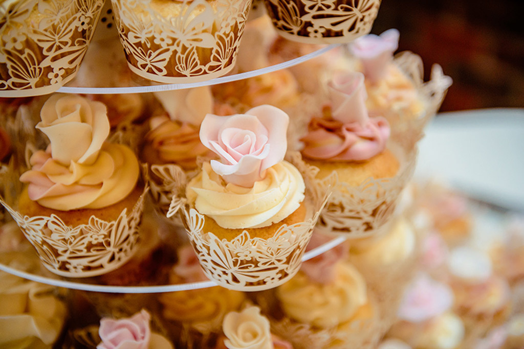 Wedding cake cupcakes at Rebecca and Graeme's wedding at Sandhole Oak Barn