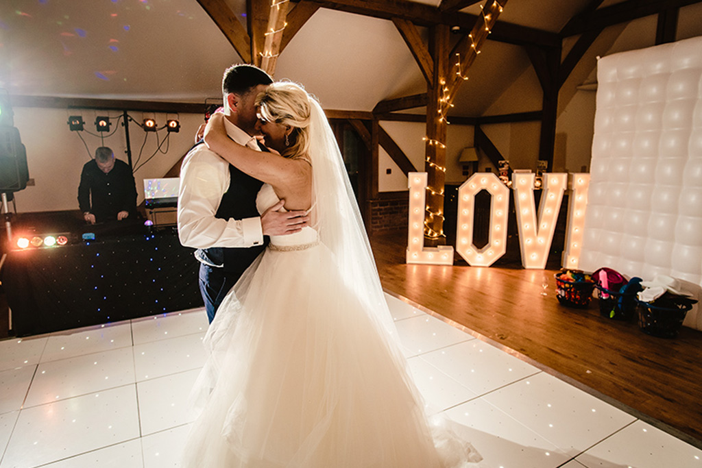 First dance at Rebecca and Graeme's wedding at Sandhole Oak Barn