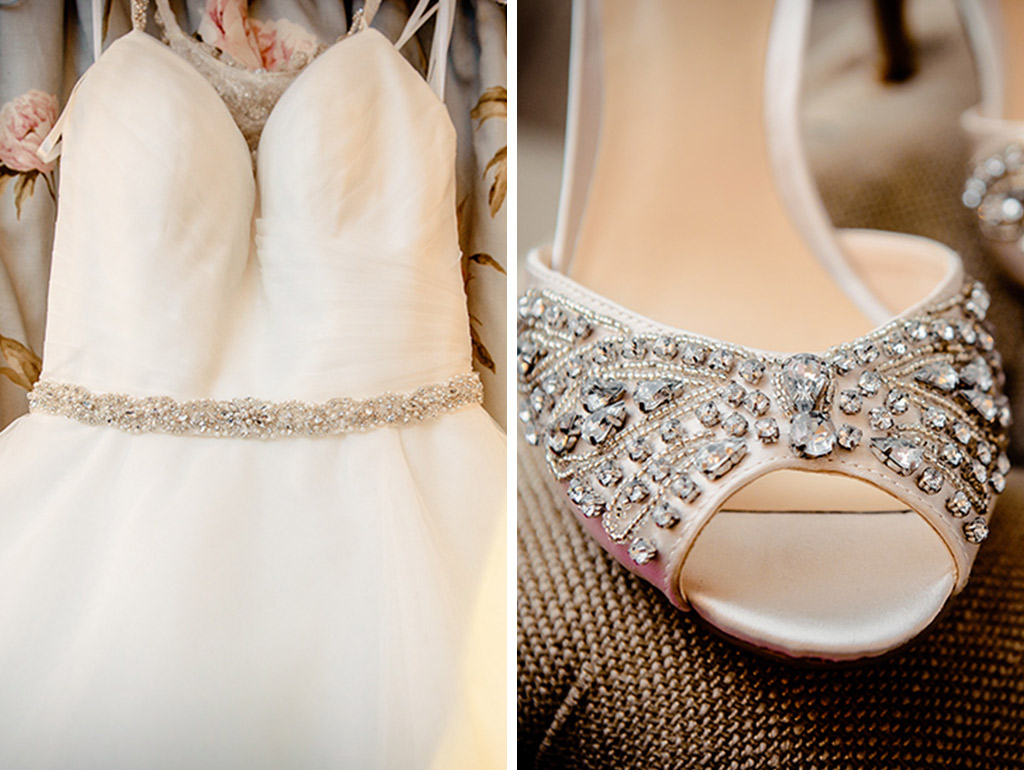 Pretty lace dress and sparkly shoes at Rebecca and Graeme's wedding at Sandhole Oak Barn