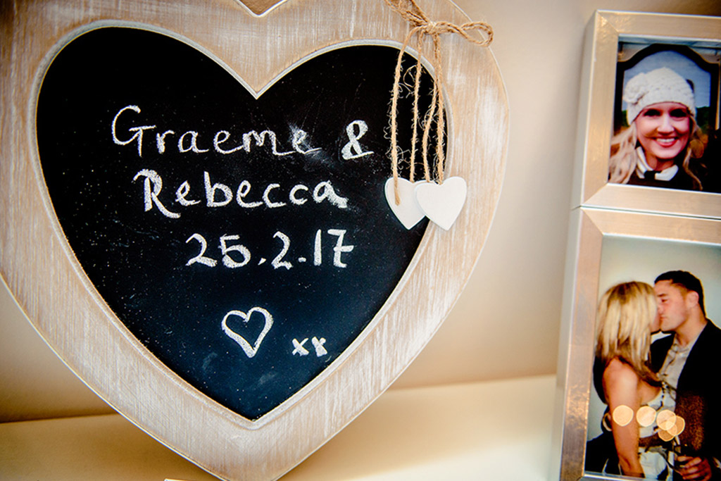 Chalk board sign at Rebecca and Graeme's wedding at Sandhole Oak Barn