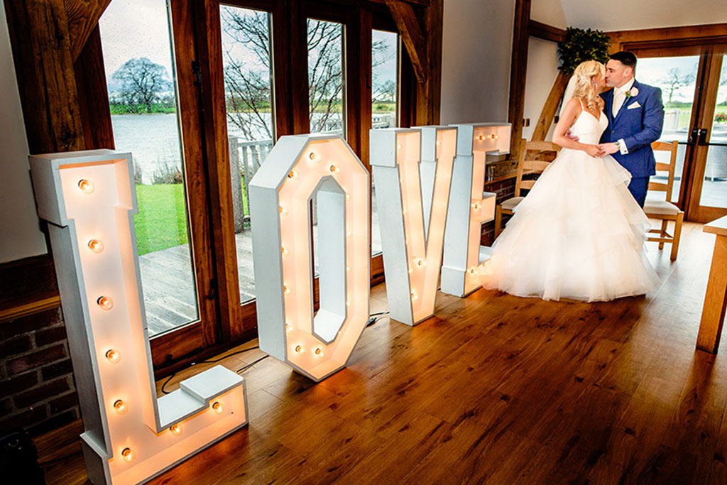 Light up letters at Rebecca and Graeme's wedding at Sandhole Oak Barn
