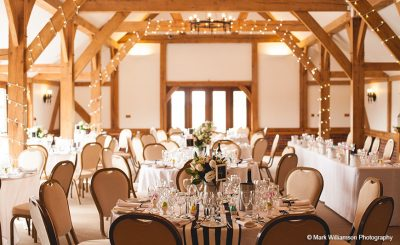 The oak barn wedding centrepieces flowers