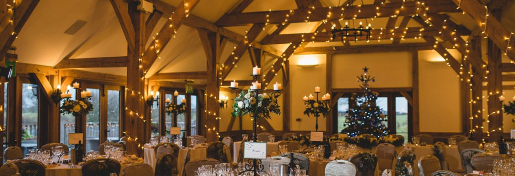 The Oak Barn looks truly magical dressed for a Christmas wedding