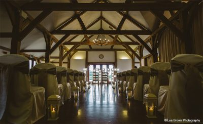 The Oak Barn dressed for a wedding ceremony with light-up-letters