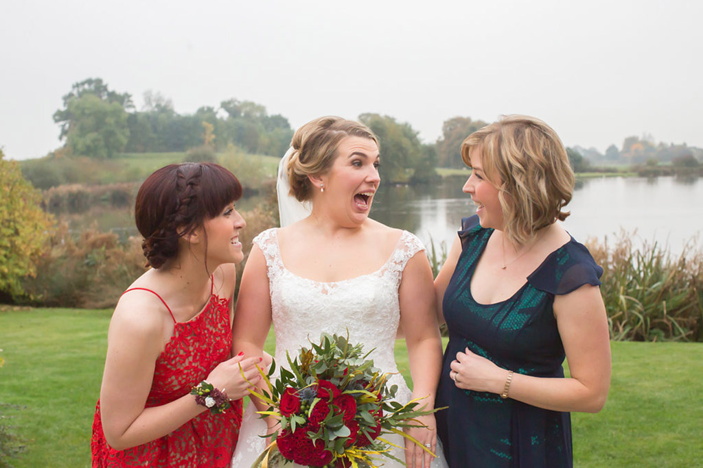 bride and bridemaids sandhole oak barn wedding venues cheshire