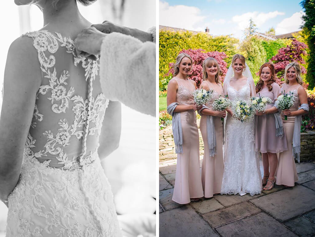 The bride wore a beautiful lace wedding dress and the bridesmaids wore delicate nude-coloured dresses