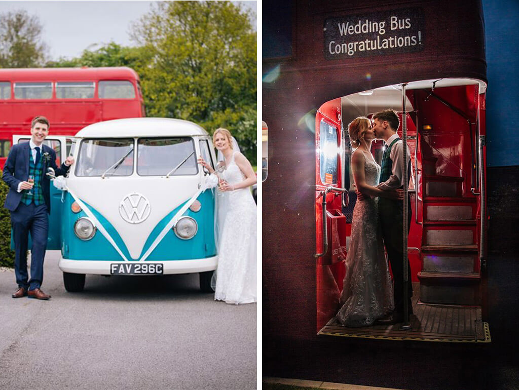 The couple arrived at the stunning Cheshire wedding venue in a VW Campervan and guests in a red double-decker bus