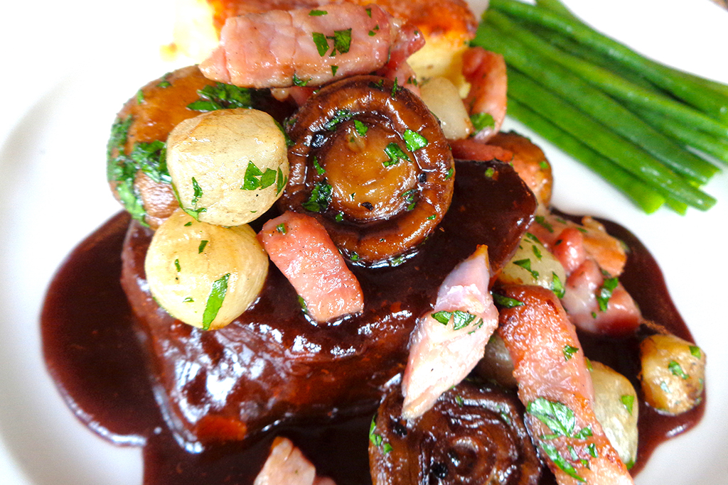 Beef bourguignon is the perfect choice for the main course of your winter wedding menu at Sandhole Oak Barn in Cheshire