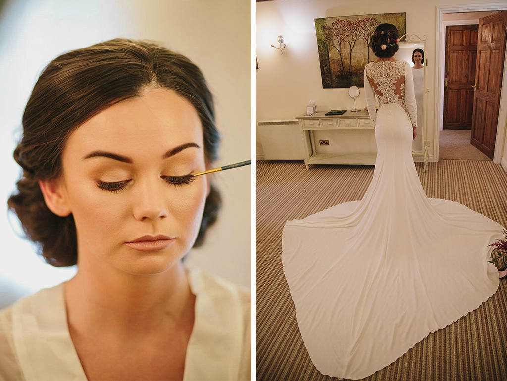 The bride gets ready for the day ahead in the boutique bridal preparation room at Sandhole Oak Barn in Cheshire